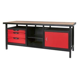 Etabli professionnel d'atelier 1 porte et 3 tiroirs, L.2m