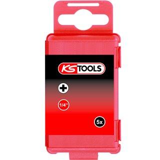 Boite de 5 embouts de vissage à code couleur TORSIONpower®, L. 75 mm - 1/4'' - PHILLIPS®, PH3