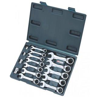 Coffret mini clé mixte réversible à cliquet GEAR plus,16 pcs - 8 à 19 mm- avec a