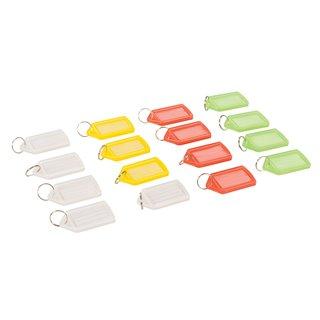 Lot de 16 porte-clés à étiquettes de couleurs assorties (grand modèle) - Lot de 16