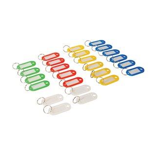 Lot de 25 porte-clés à étiquettes de couleurs assorties (petit modèle) - Lot de 25