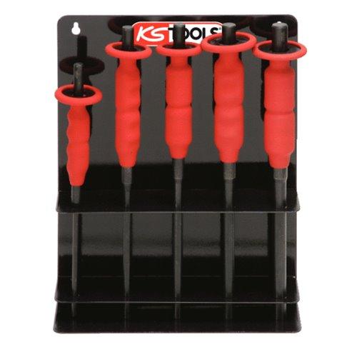 Présentoir de 5 chasse axes brunie avec poignée grip , 6-8-10-12-14 mm-
