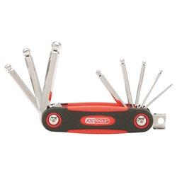 Jeu de clés males 6 pans sphérique, rabattable 8 pcs bi-composant ,2,5-3-4-5-6-7