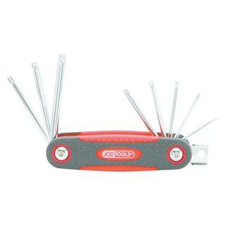 Jeu de clés TORX® rabattable 8 - 10 - 15 - 20 - 25 - 27 - 30 - 40  bi-composant