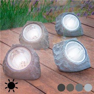 Pierre Artificielle Solaire (4 LED)-Couleur-Gris