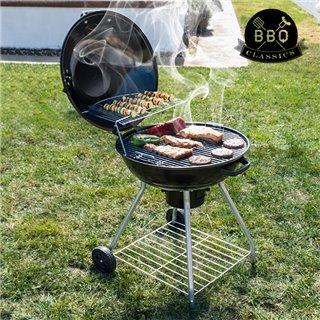 Barbecue à Charbon avec Couvercle et Roulettes Black BBQ Classics