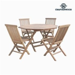 Ensemble Table + 4 Chaises Teck Octogonal by Craftenwood