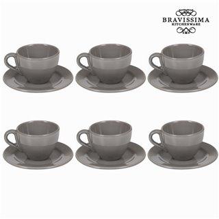 Lot de 6 tasses à thé avec soucoupe - Collection Kitchen's Deco by Bravissima Kitchen