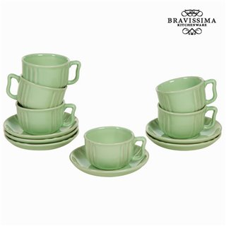 Lot de 6 tasses en faïence vert - Collection Kitchen's Deco by Bravissima Kitchen