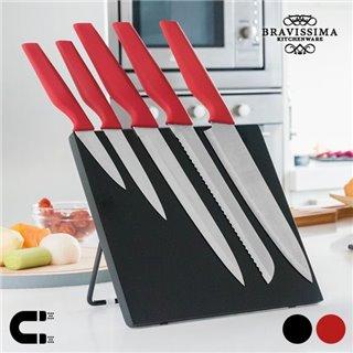 Couteaux avec Support Magnétique Bravissima Kitchen (6 pièces)-Couleur-Rouge