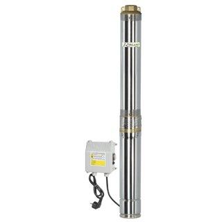 Pompe immergée inox 750w, 95m avec tableau électrique, immergable 40m sous l'eau