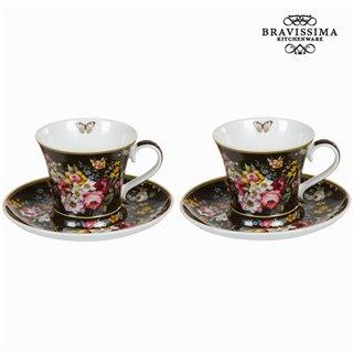 Lot de 2 tasses avec soucoupe bloom black - Collection Kitchen's Deco by Bravissima Kitchen