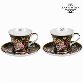 Lot de 2 tasses avec soucoupe bloom black - Collection Kitchen's Deco by Bravissima Kitchen