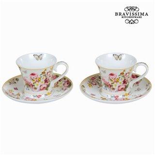 Ensemble de 2 tasses avec soucoupes bloom - Collection Kitchen's Deco by Bravissima Kitchen