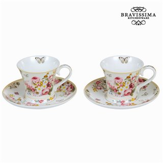 Ensemble de 2 tasses avec soucoupes bloom - Collection Kitchen's Deco by Bravissima Kitchen