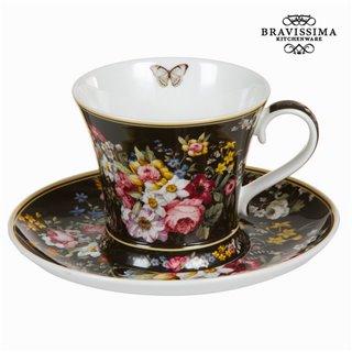 Tasse avec soucoupe bloom black - Collection Kitchen's Deco by Bravissima Kitchen