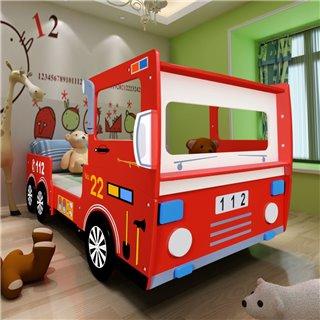 vidaXL Lit camion de pompier pour enfants 200 x 90 cm Rouge