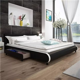 vidaXL Lit avec 2 tiroirs 180 x 200 cm Cuir artificiel Noir