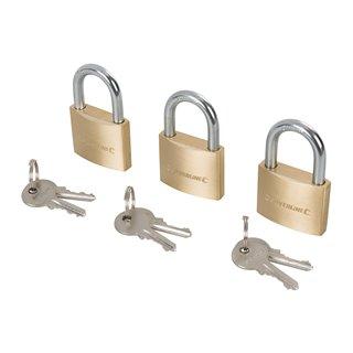 Jeu de 3 cadenas en laiton avec clés différentes - 40 mm