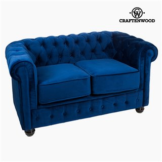 Canapé Chester 2 places Velours Bleu - Collection Relax Retro by Craftenwood