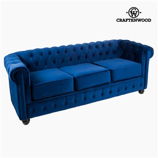 Canapé Chester 3 places Velours Bleu - Collection Relax Retro by Craftenwood