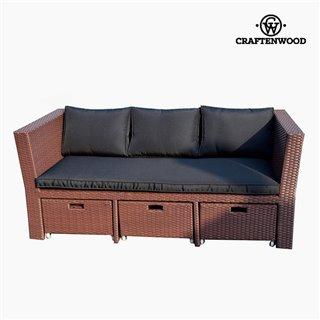 Ensemble sofa et pouf (4 pcs) Rotin Marron Noir by Craftenwood