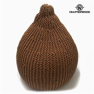 Pouf Coton Marron (57 x 57 x 60 cm) by Craftenwood