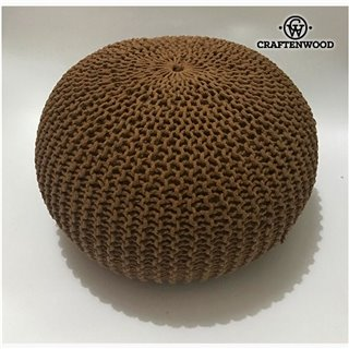 Pouf Coton Marron (50 x 50 x 30 cm) by Craftenwood