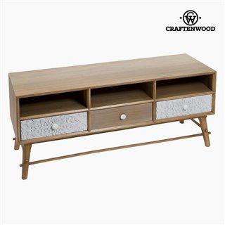 Table de télévision Mdf et bois de pin Blanc (3 tiroirs) (120 x 41 x 51 cm) by Craftenwood