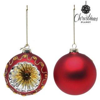 Boules de Noël Christmas Planet 1662 8 cm (2 uds) Verre Rouge