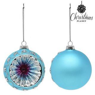 Boules de Noël Christmas Planet 1693 8 cm (2 uds) Verre Bleu