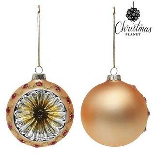 Boules de Noël Christmas Planet 1730 8 cm (2 uds) Verre Doré