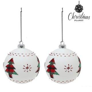 Boules de Noël Christmas Planet 1860 8 cm (2 uds) Verre Blanc