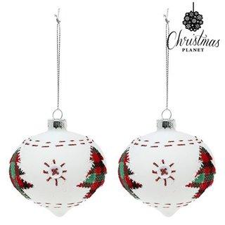 Boules de Noël Christmas Planet 2003 8 cm (2 uds) Verre Blanc