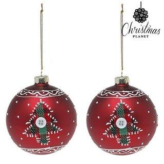 Boules de Noël Christmas Planet 1785 8 cm (2 uds) Verre Rouge