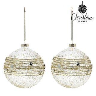 Boules de Noël Christmas Planet 2386 10 cm (2 uds) Verre Doré
