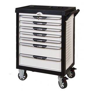 Servante PEARLline blanche 7 tiroirs équipée de 263 outils
