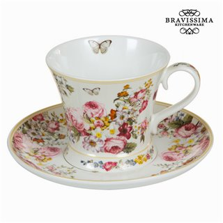 Tasse avec soucoupe bloom white - Collection Kitchen's Deco by Bravissima Kitchen