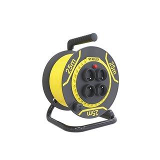 Stanley - Enrouleur Pvc - 25 M - 3G1.5 - 4 Prises