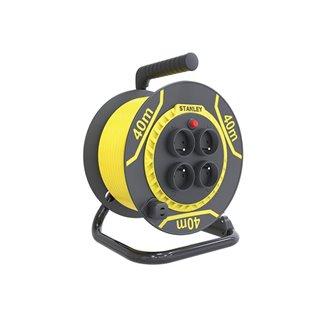Stanley - Enrouleur Pvc - 40 M - 3G1.5 - 4 Prises