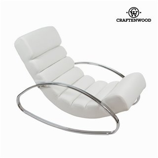 Fauteuil à bascule similicuir blanc by Craftenwood