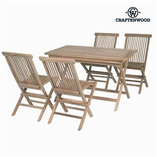 Ensemble Table + 4 Chaises Teck Rectangulaire by Craftenwood