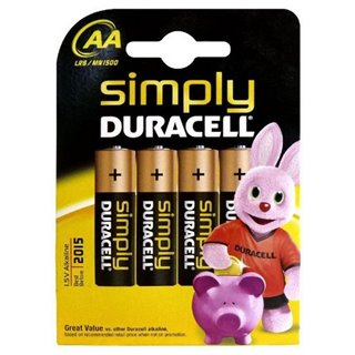 Piles Alcalines DURACELL Simply DURSIMLR6P4B LR6 AA 1.5V (4 pcs)