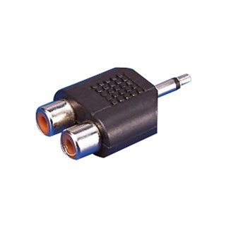 Adaptateur Audio Jack EDC 3,55 mm RCA x 2 Noir Prise femelle