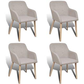 vidaXL Chaise de salle à manger 4 pcs avec cadre en chêne Tissu
