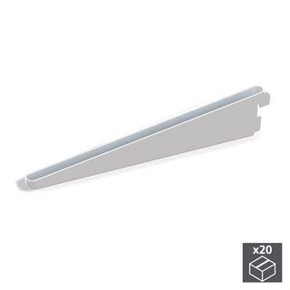 Lot de 20 supports étagère Jagmet Emuca longueur 470 mm pour profil à perforation double et pas de 32 mm