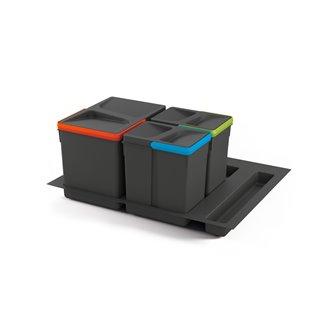 Kit de poubelles à base Recycle pour tiroir de module 600 mm Emuca  12 L, 6 L, 6L