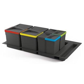 Kit de poubelles à base Recycle pour tiroir de module 900 mm Emuca  12 L, 6 L, 6L