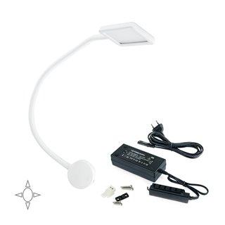 Lot de 1 applique carré Kuma Emuca à col de cygne flexible avec 2 ports USB en couleur blanc et convertisseur de 30W