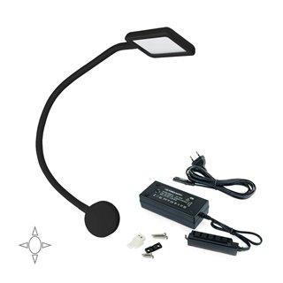 Lot de 1  applique carré Kuma Emuca à col de cygne flexible avec 2 ports USB en couleur noir et convertisseur de 30W